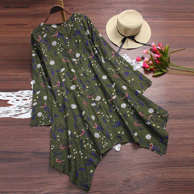 Plus Size 5XL Womens Tops and Blouses 2018 Vintage Floral Print Long Sleeve Long Shirts Tunic Harajuku Ladies Top Clothes 2