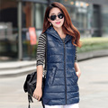 Women's autumn and winter vest 2015 new Slim hooded cotton vest fashion glossy female models down vest waistcoat vest Y1021-65D