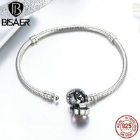 BISAER 925 Sterling Silver Pink Flower Poetic Daisy Cherry Blossom Basic Chain Bracelet For Women Fashion