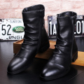 Winter Black Men Half Boots Round Toe Zip Pleated Martin Boots Men British Leather Shoes High Top Cowboy Motorcycle Boots