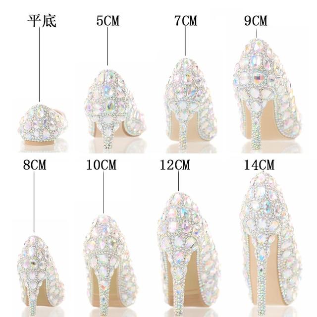 2017 El Nuevo Siete Colores Zapatilla de Cristal Tacones Altos Novia  zapatos Ligeros Zapatos de Cristal 5f006f6cfed9