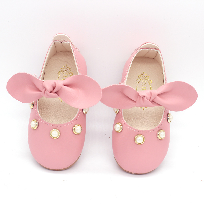 COZULMA Toddler Party Anti-slip Bowtie Casual Shoes Baby Shoes Baby Girl Princess Pearl Shoes Enfants Size 15-25