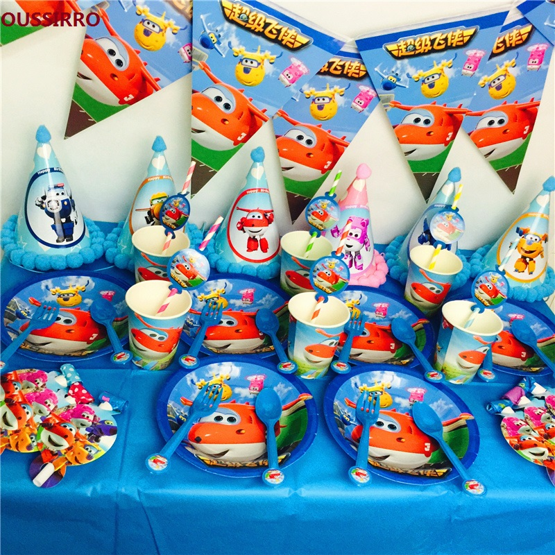 OUSSIRRO Party Supplies 50pcs For 6 kids Super Wings Theme Birthday Party Decoration Tableware set plate+cup+straw+banner+topper