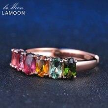 Lamoon натуральным изумрудом кольцо Овальный многоцветный Турмалин стерлингового серебра 925 женщин цитрин 18 К розовое золото LMRI005