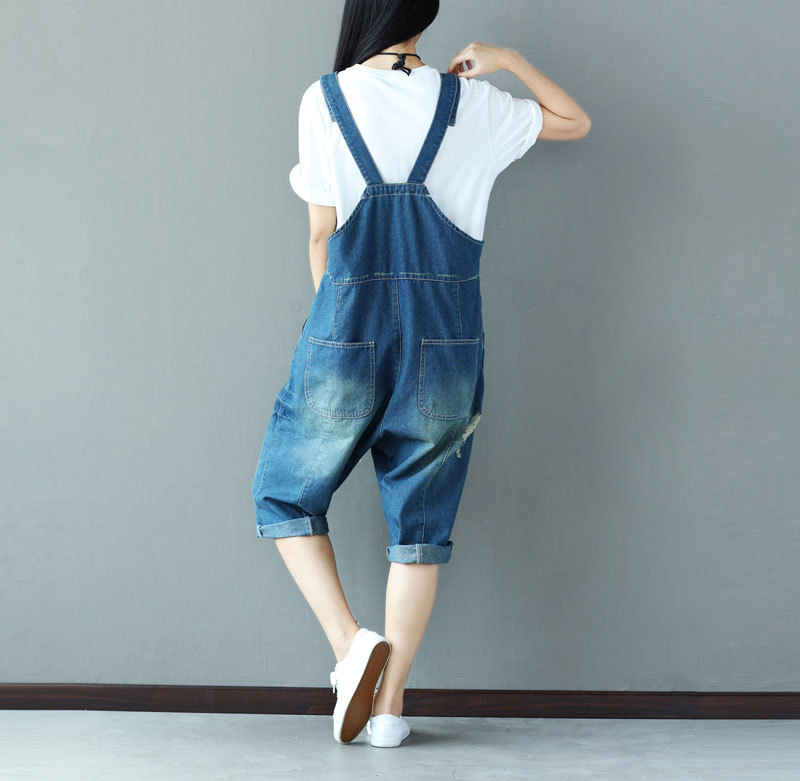 1 Plus Printemps Femmes 2019 Pour Coton Jean Denim Taille Trous Barboteuses Casual Été Salopette Jeans Lâche La Femme wPnOk80