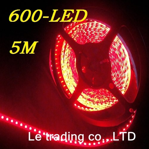 5M 3528 SMD Flexible Waterproof 600 LED Strip Light Red Free Shipping