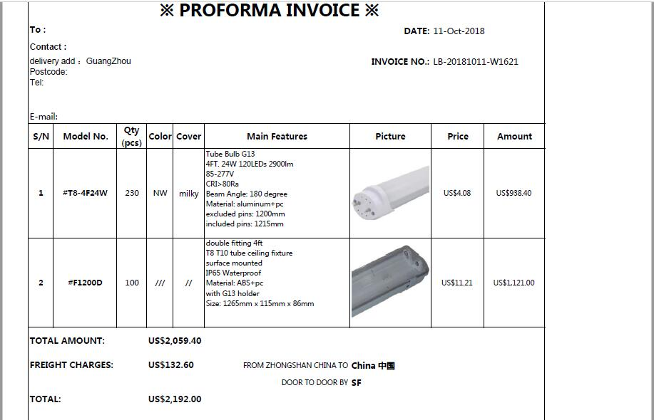 The Invoice for morgan whitfield with price 2192USD sent to GuangZhou