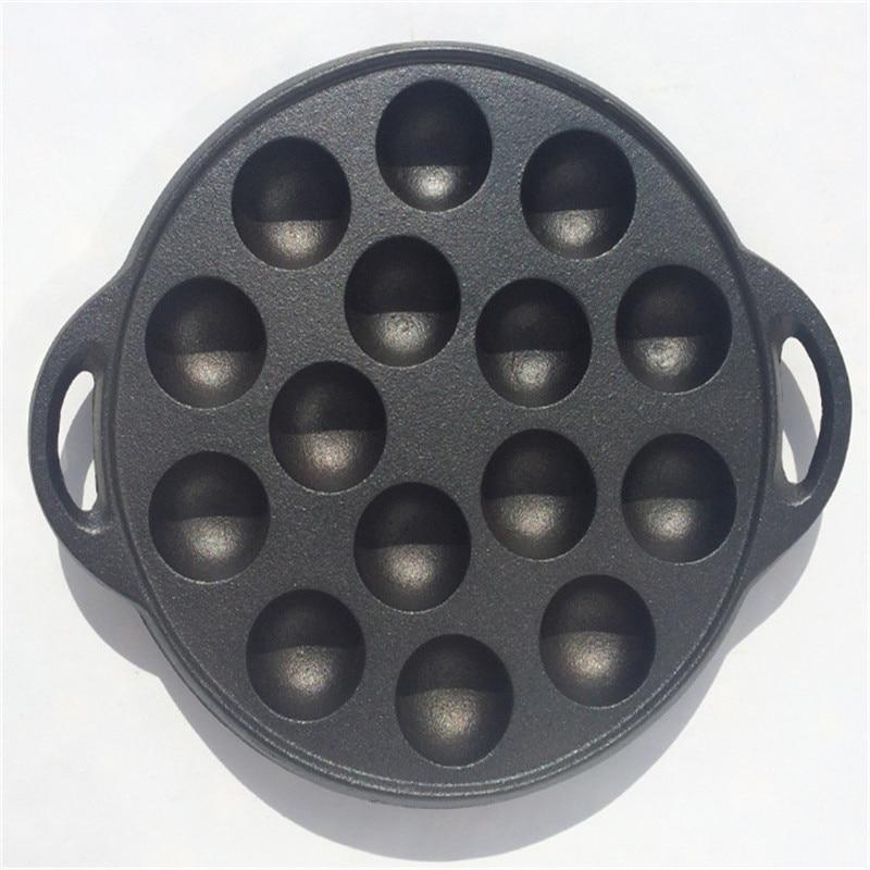 Cast Iron Ball Maker Pan Pot Muffin Porous Pancake Waffle Baking Pan Fried Balls Egg Breakfast Pot Gas Cooker Grill Pan Maker