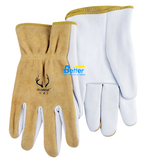 Grain Deer Skin Leather Work Glove Grain Deerskin Leather Driver Safety Glove