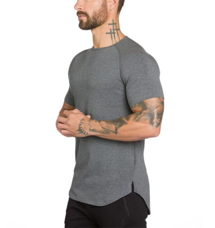 Brand gyms clothing fitness t shirt men fashion extend hip Fitness shirts for men