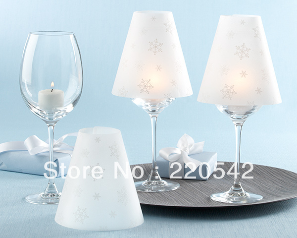 6pcs/lot Wine Glass Lampshades Wine Goblet Table Lamp Shade Wedding Table  Decoration Snowflakes