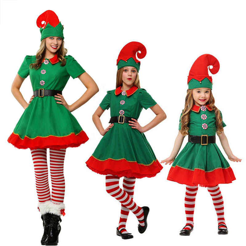 71e67b0b689b ... Eraspooky Christmas Elf Costumes Adult Santa Claus Cosplay Family  Matching Clothes Kids Carnival Dress Girl 2018