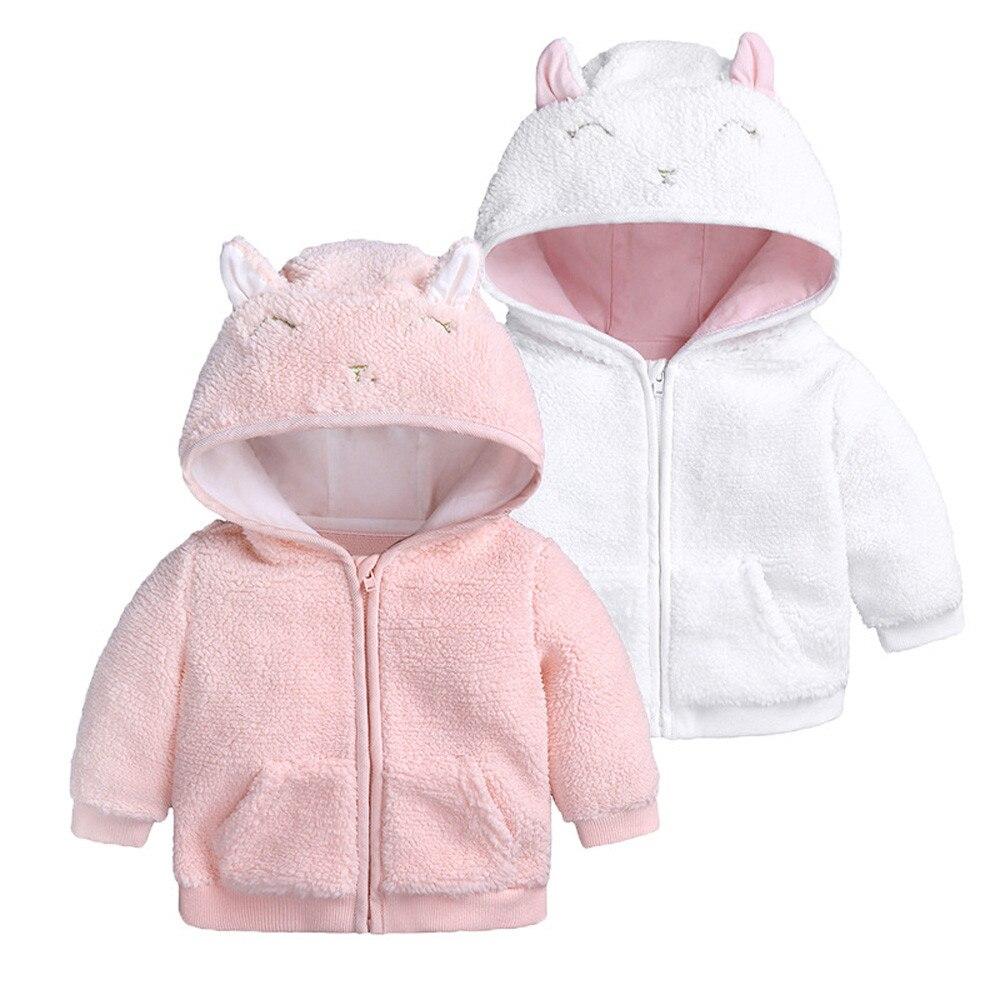 2018 Mode Neugeborenen Baby Jungen Mädchen Cartoon Ohr Mit Kapuze Pullover Tops Warme Kleidung Mantel Baby Mädchen Winter Kleidung # O30