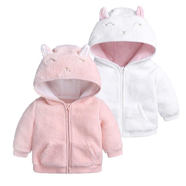 Newborn Infant Baby Boys Girl Long Sleeve Animal Cartoon Ear Hooded Pullover Tops Warm Clothes Coat