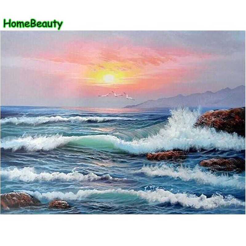 Painting calligraphy diy acrylic pictures by numbers wall decor ocean waves sunset paint acrylic coloring by number craft PH9225