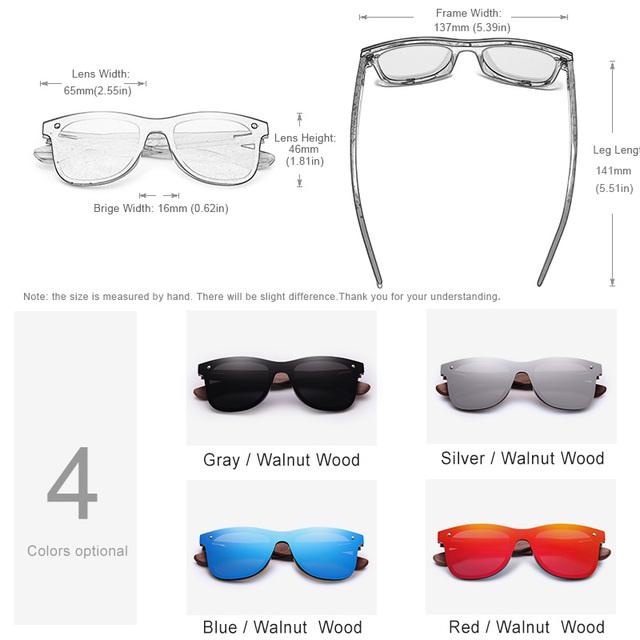 Polarized Wooden Frame Mirror Lens Sunglasses
