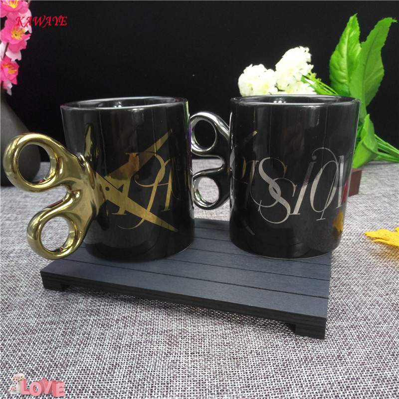 1 pcs Creative Scissors Mug Gold Silver Handle Ceramic Cup Coffee cup Office Drinking Cup Personality Gift For Friends 8ZDZ258