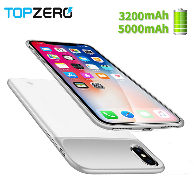 Nouveau 3200/5000 mah Portable Souple En Silicone Batterie Chargeur Cas Pour iphone X batterie Cas Avec magnétique Puissance Banque cas Pour iphone x