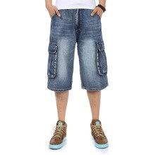 Jeans Men 2019 New Summer Modis Multi-Pocket Mens Blue Denim Shorts Streetwear Loose Large Size Straight