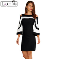 La Chilly Women Autumn 2017 Winter Dresses Black White Patchwork O Neck Three Quarter Sleeve Casual
