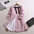 Women Autumn Winter Coat 2016 Fashion Office Ladies Bow Pink Black Trench Coat Plus Size Three Quarter Sleeve Long Trench Coat