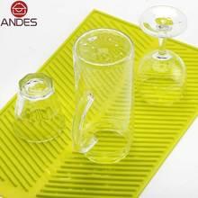 Cocina accessories39 * 25 CM Rectángulo Estera Secado Plato Extra-Alta calidad Resistente Al Calor de Silicona-Antibacterial Dishwaser Segura