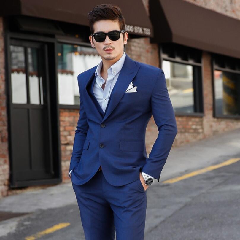 6c7cc57212d36 Picture Slim Traje chaqueta As Clásico Oscuro Trajes as Casamiento Para  Fiesta Pantalones Hombres Caballeros Los Boda Azul Negocios Novio Ropa De  ...