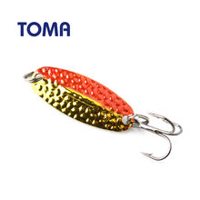 TOMA 5pcs/lot Copper Metal Fishing Lure Wobblers 40mm 4g Spinner Lures Copper Spoon Hard Baits Sequins Noise Fishing Tackle(China)
