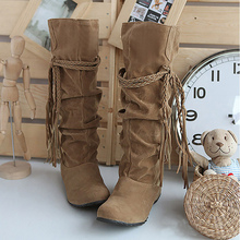 Thigh high boots women shoes Plus size 34-43 Flock 6 color Black/Brown/Yellow/Beige/Pink Wedge Ribbons botas mujer