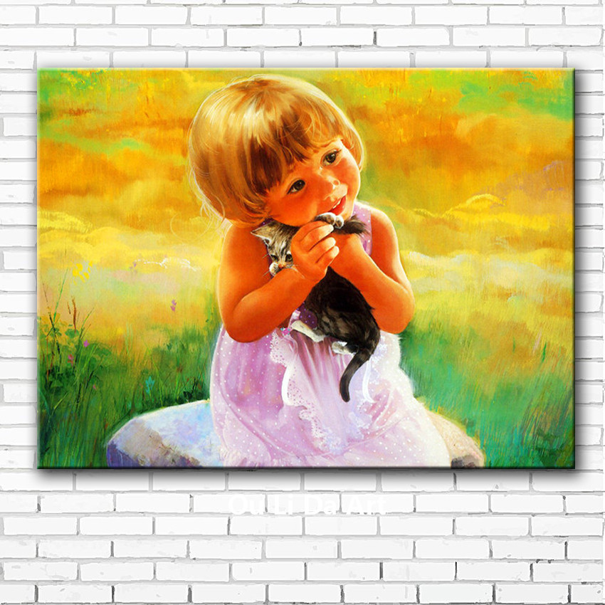 classical cute baby girl cat landscape canvas printings oil painting ...