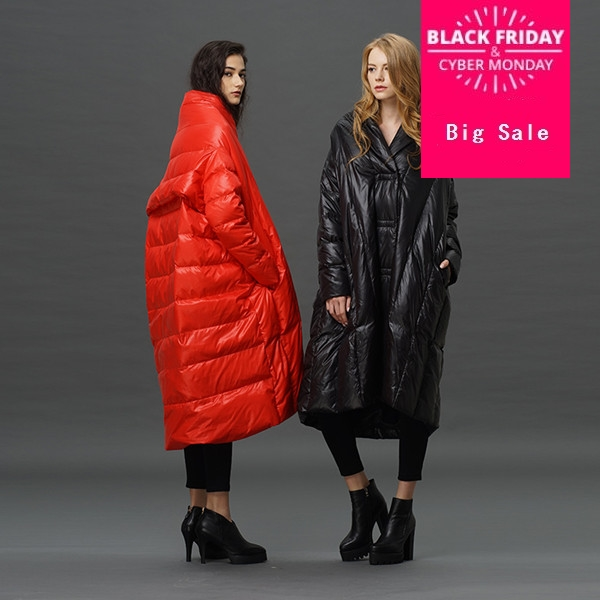 S-4XL Plus size 90% duck   down     coat   fashion brand high collar cloak style long   down   jacket women's loose thicker warm   coat   wj1305