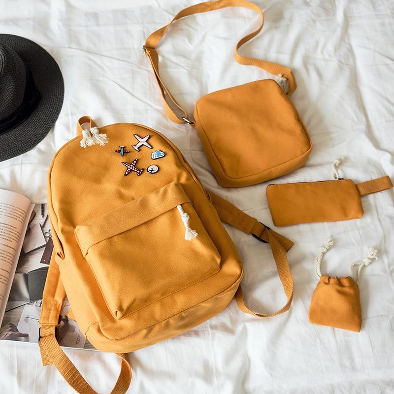 2018 New 4Pcs/Set Casual Women Backpacks Canvas Book Bags Cute Plane Badge Schoolbag for Teenage Girls Y203