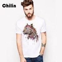 Chilin Miễn Phí Vận Chuyển Ngắn Tay Áo T Shirt Cotton Áo Thun Leopard Men T-Shirt Top Casual Quần Áo Nhà Máy Bán Buôn MỸ Kích XS 3XL