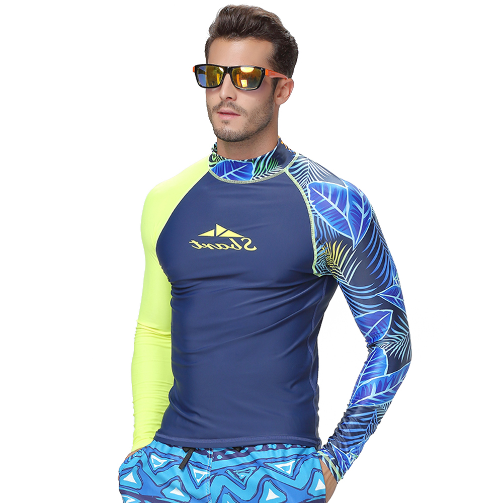 Image 3 - SBART men's rash guard shirt Mens Long Sleeved T Shirt Swimwear Wakeboard Floatsuit Tops UV Swimming RashGuard-in Rash Guard from Sports & Entertainment