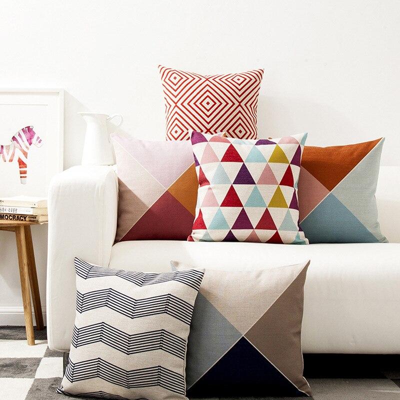 Декоративные диванные подушки Чехол Nordic абстрактный геометрический Красочные линии для диван домашний декор Капа para almofadas чехлы