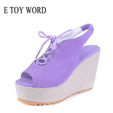 цена E TOY WORD sandals women 2019 Rome Shoes Lace-Up Women Fashion Wedge gladiator sandals summer women High Heel Sandals в интернет-магазинах