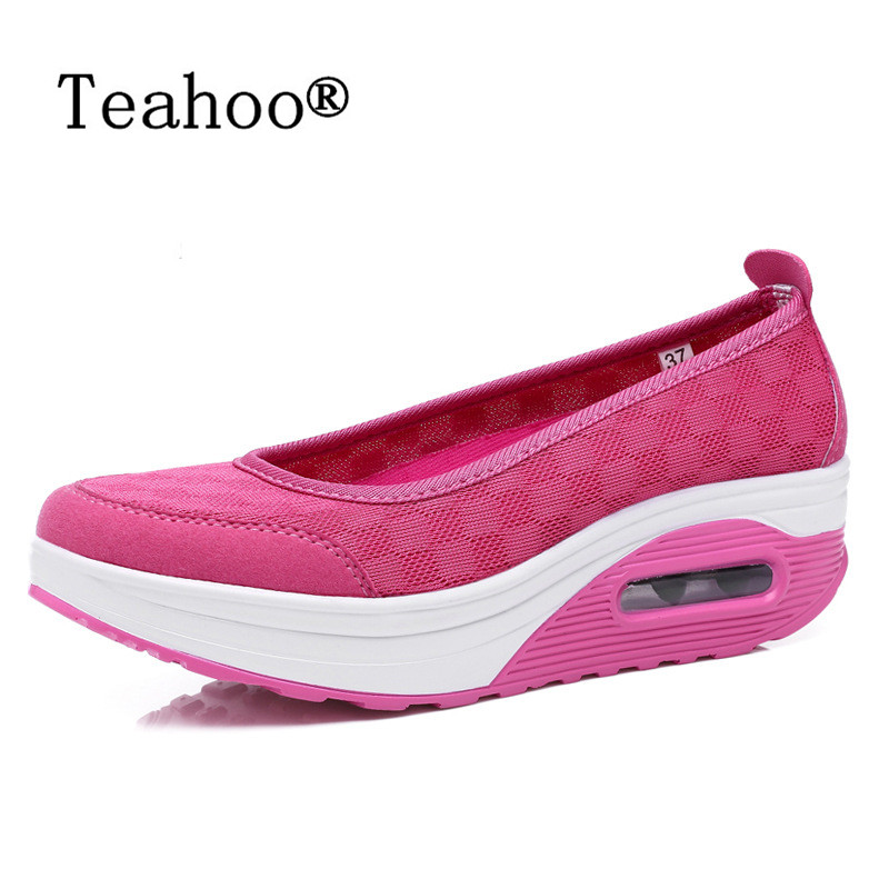 New Causal Shoes Women 2016 Sport Fashion Flats Height Increasing Platform Loafers Breathable Air Mesh Swing Wedge Walking Shoes hot height increasing 2016 summer shoes women s casual shoes sport fashion walking shoes for women swing wedges shoes breathable