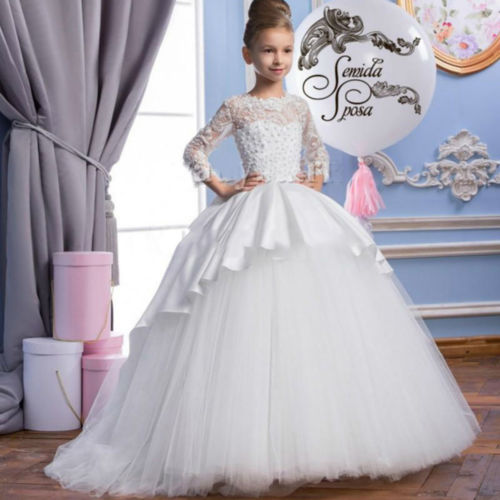 Puffy Pageant Birthday Flower Girl Prom Party Princess Ball Gown Formal Dresses ball gown sky blue open back with long train ruffles tiered crystals flower girl dress party birthday evening party pageant gown