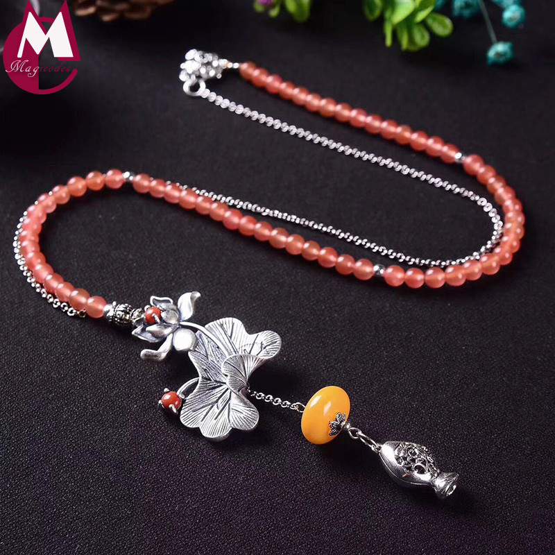 Luxury Gemstone Jewelry Beeswax Vintage Lotus Leaves Flower Necklace Women Strawberry Quartz Beads Long Chian Hollow Fish SN14 цены