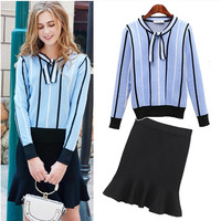 Autumn Spring Women's Clothing Sets Butterfly Collar Strip Sweaters Knit Tops Mermaid Work Office Skirts Suit Elegant Set NS831