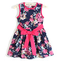 girl dress 2015 summer style  girl dress  free shipping for 3-11 age bow floral girls princess party bow kids formal dress