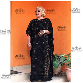 2019 New African  Diamond 100% cotton Chiffon Long Dashiki Dress For Lady  Length :140cm  Wide:115cm (zuan#) - 12, One Size