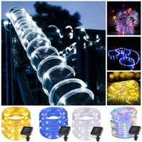 7 M 12 M 50/100 leds Solar LED cadena luces exterior cuerda tubo Led Cadena de hadas con energía Solar luces para paisaje de cerca de jardín