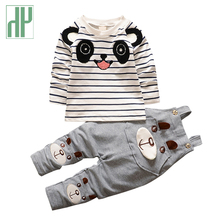 цена на Baby boy clothes 2016 Brand Cotton Overalls For Baby Boys Tshirt+Pants Infant Clothes  cartoon panda toddler boys clothing