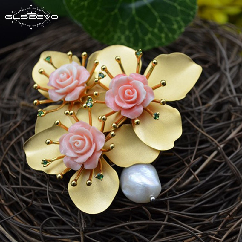 GLSEEVO Natural Fresh Water Pearl Flower Brooch Pins And Brooches For Women Accessories Luxury Fine Jewellery Dual Use GO0097 amxiu customized dual use brooch and pendant natural fritillary natural pearl brooches flower shape gold plated pins for women