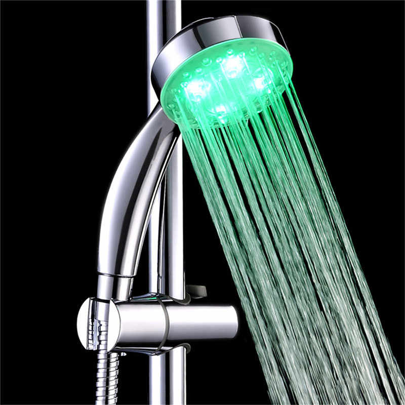 NEW colorful LED Shower Head 7-Color Changing Shower Head No Battery LED Waterfall Shower Head Round Bathroom Showerhead