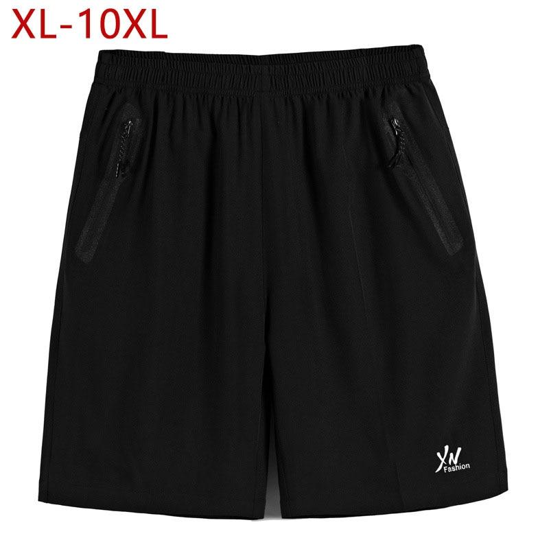 XL-10XL Plus Size Summer Mens Casual Shorts Black Solid Male Baggy Short Pants Elastic Waist Men Waterproof Loose Shorts 6XL 8XL