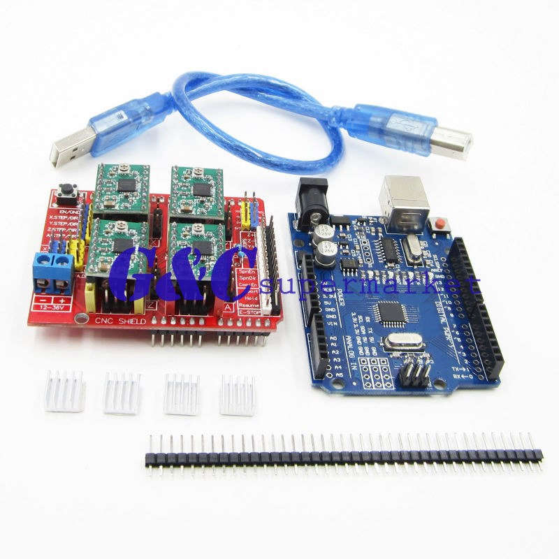 For arduino For UNO R3 Board + CNC Shield V3 + 4PCS A4988 + 4PCS Heatsink