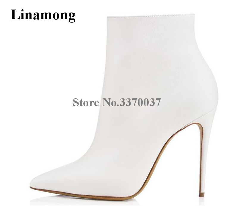 Brand Design Women Pointed Toe White Black Leather Thin Heel Short Boots Zipper-up High Heel Ankle Booties Dress Shoes цена