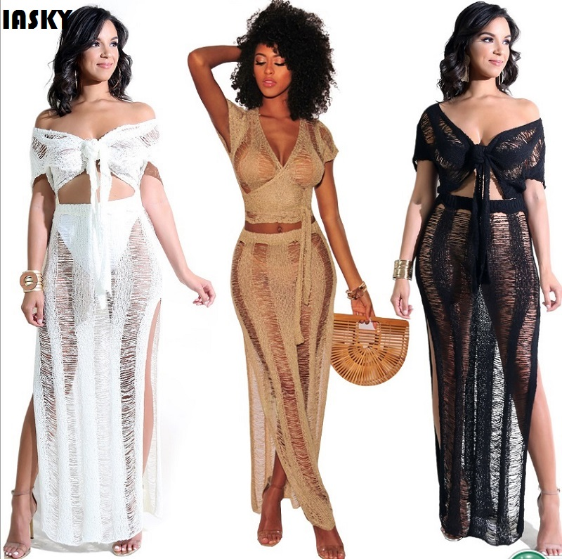 IASKY 2PCS/Set Sexy Crochet Beach Cover Up Hollow Out Knitted Tassel Beachwear Swimsuit Swimwear Cover Ups Beach Dress